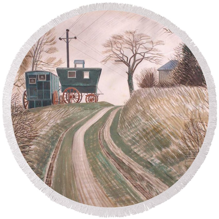 Painting Round Beach Towel featuring the painting Caravan by Mountain Dreams