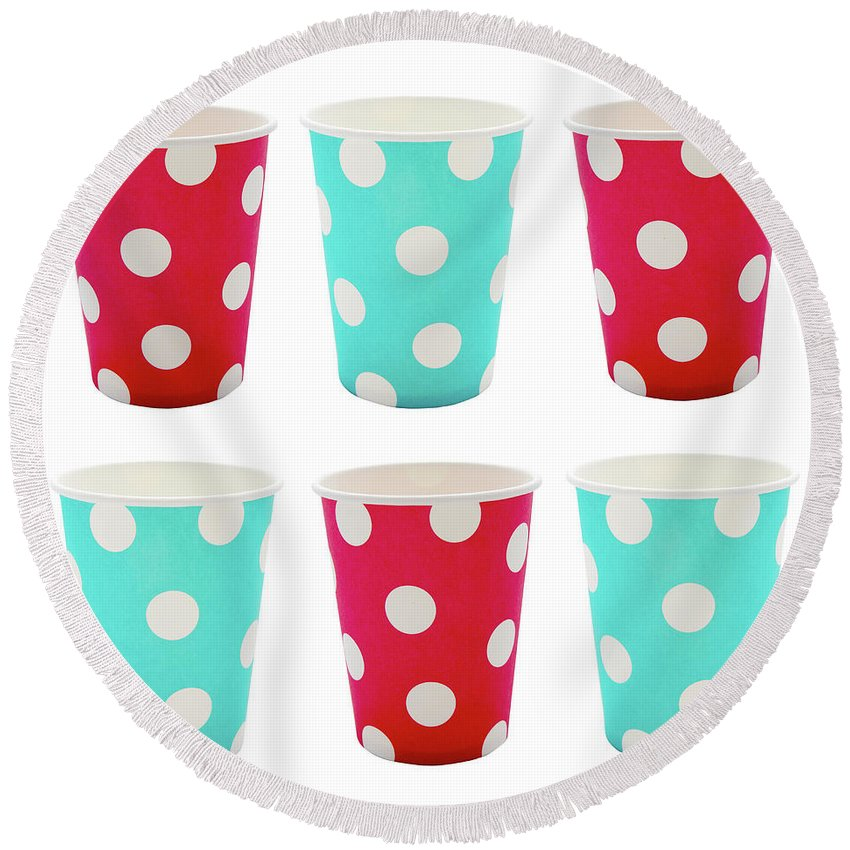 Background Round Beach Towel featuring the photograph Card With Red And Blue Paper Disposable Glass In Polka Dot Isolated On White With Copy Space by Elena Rostunova