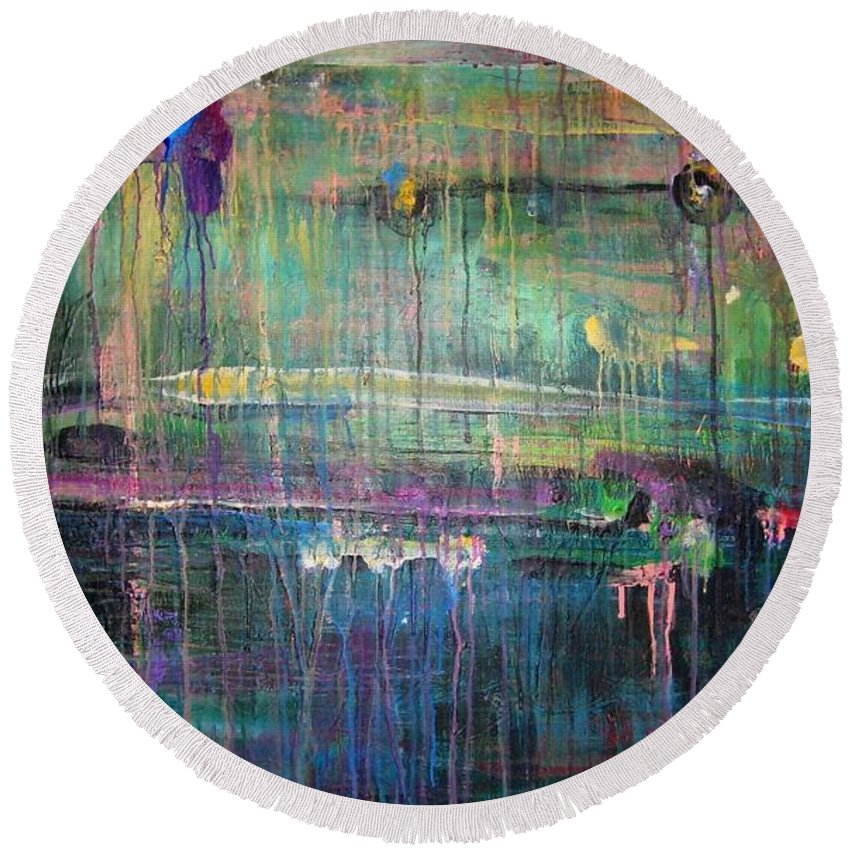 Abstract Round Beach Towel featuring the painting Care by Laurie Maves ART
