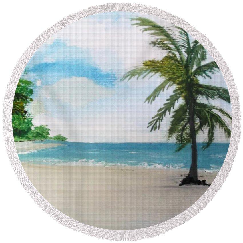 Caribbean Round Beach Towel featuring the painting Caribbean Beach by Carole Robins