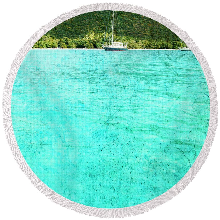 Round Beach Towel featuring the photograph Caribbean Cruising by Guy Crittenden