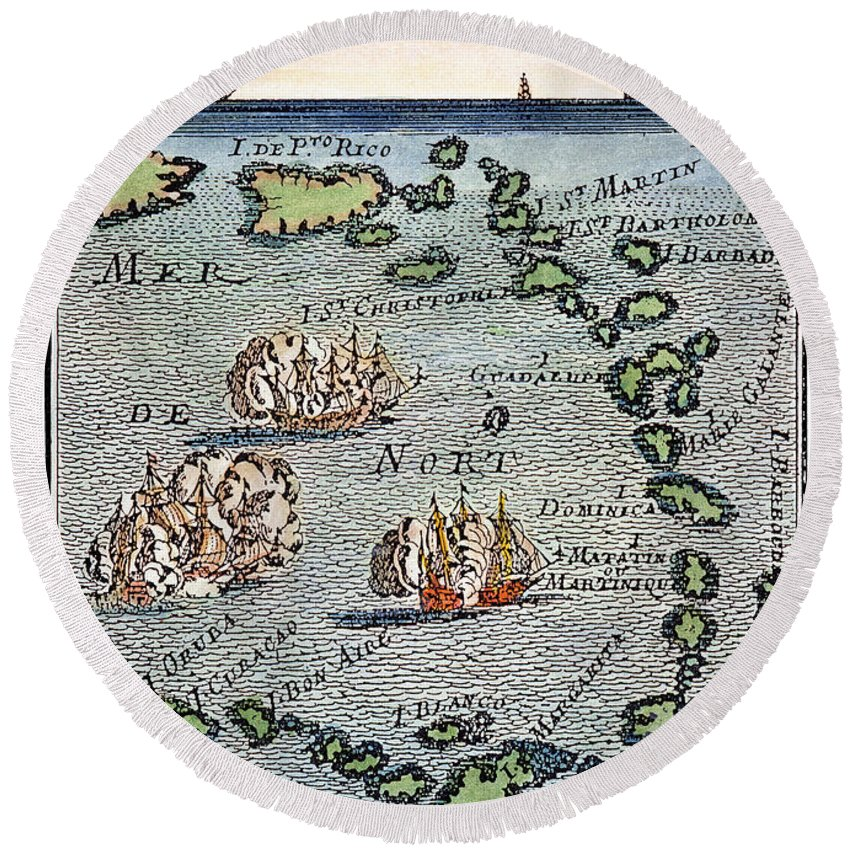 1688 Round Beach Towel featuring the photograph Caribbean Map by Granger