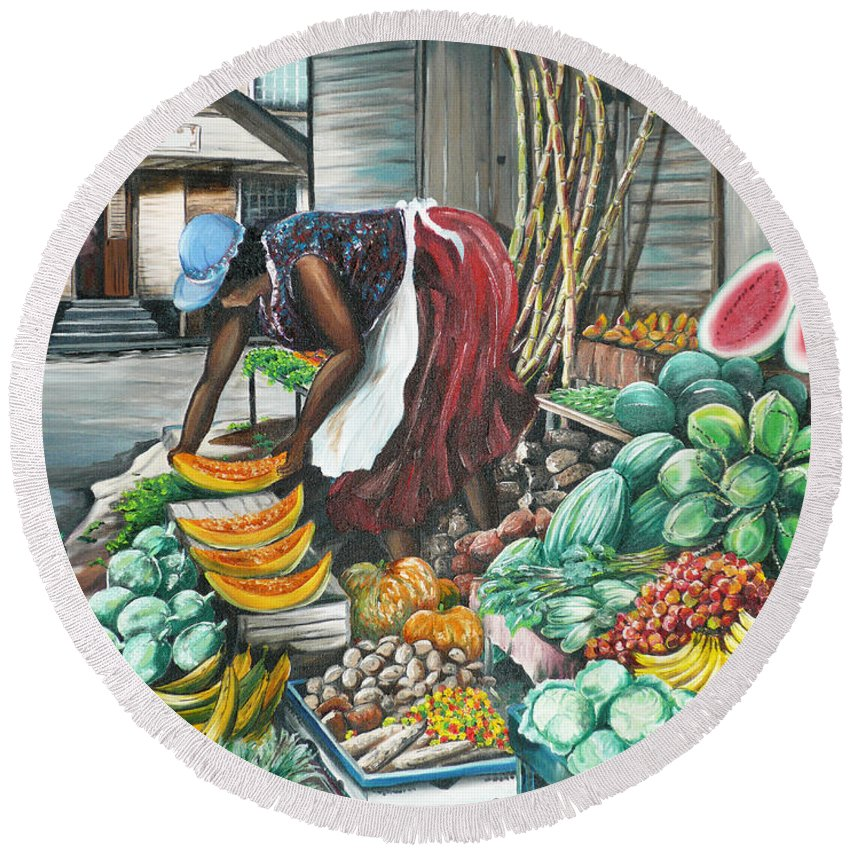 Caribbean Painting Market Vendor Painting Caribbean Market Painting Fruit Painting Vegetable Painting Woman Painting Tropical Painting City Scape Trinidad And Tobago Painting Typical Roadside Market Vendor In Trinidad Round Beach Towel featuring the painting Caribbean Market Day by Karin Dawn Kelshall- Best