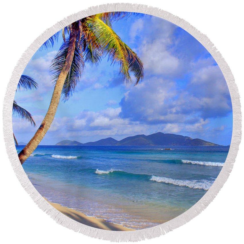 Caribbean Round Beach Towel featuring the photograph Caribbean Paradise by Scott Mahon