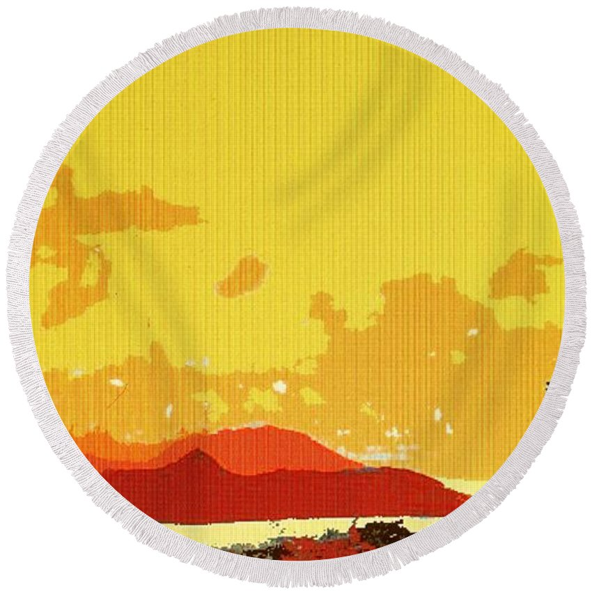 Caribbean Round Beach Towel featuring the photograph Caribbean Sky by Ian MacDonald