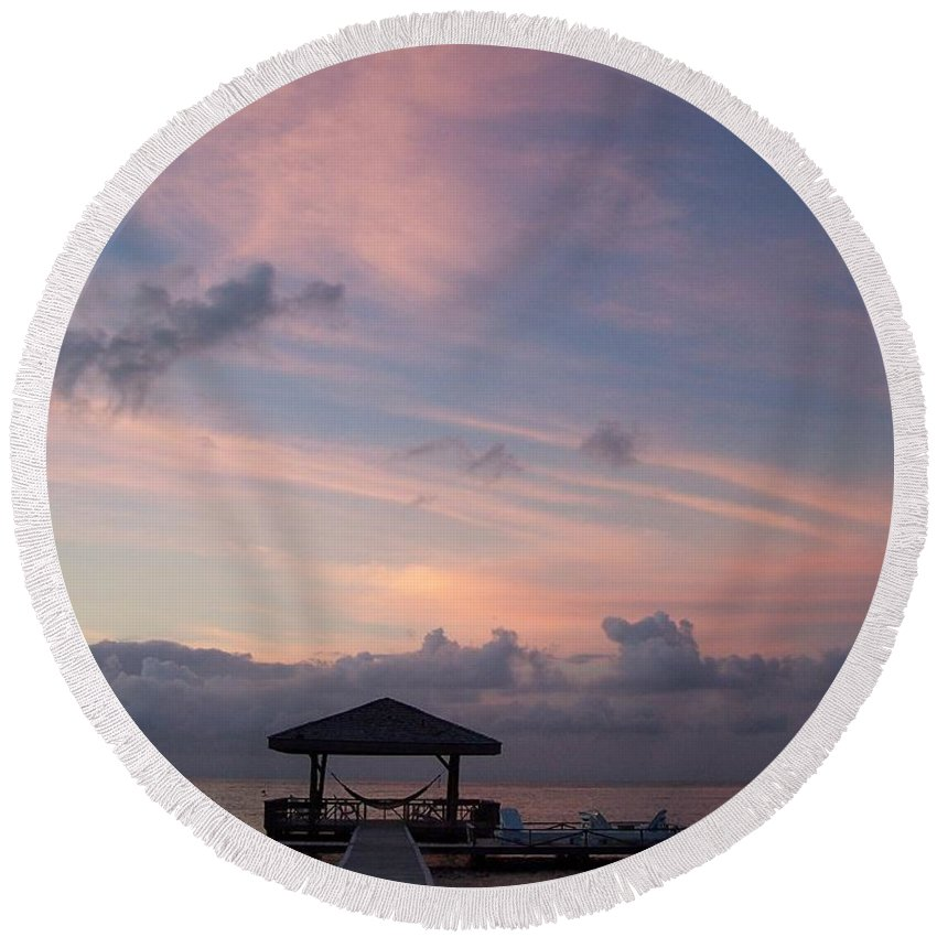 Ocean Round Beach Towel featuring the photograph Caribbean Sunrise by Gale Cochran-Smith