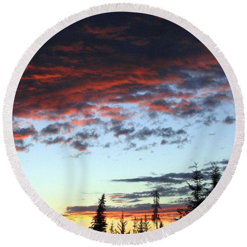 Cariboo Country Sunset Round Beach Towel featuring the photograph Cariboo Country Sunset  by Will Borden