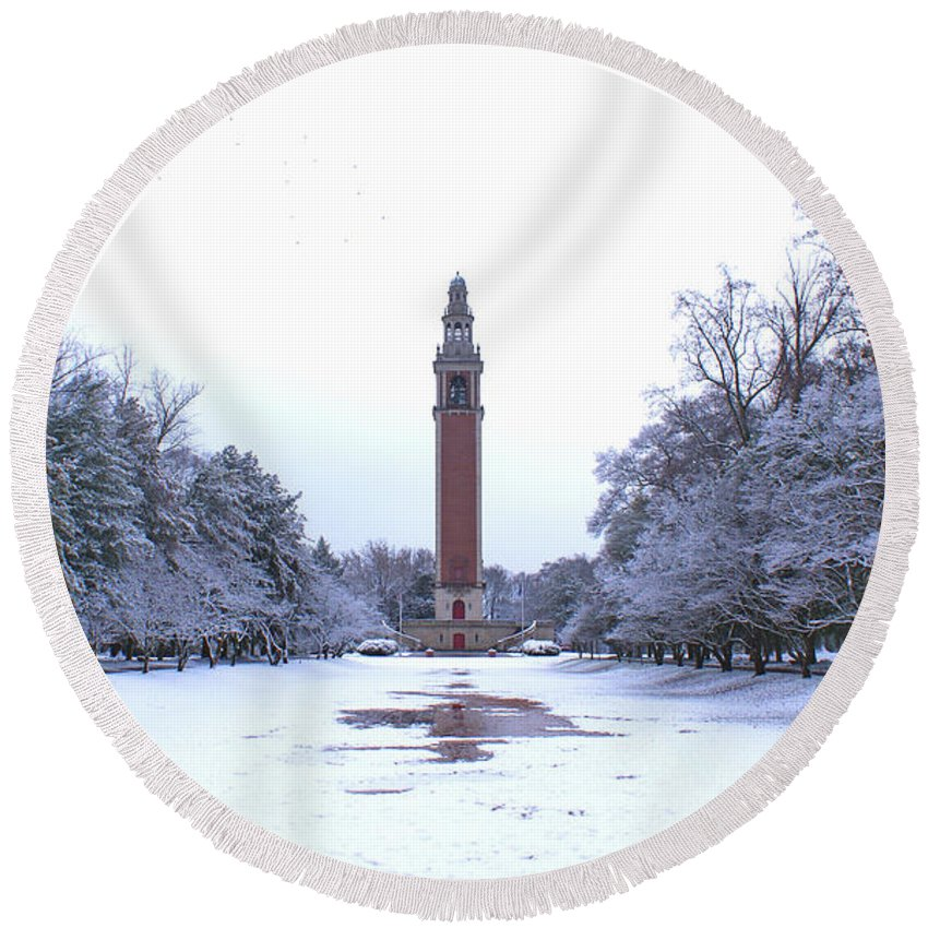 Carillon Round Beach Towel featuring the photograph Carillon In Winter by Jean Haynes