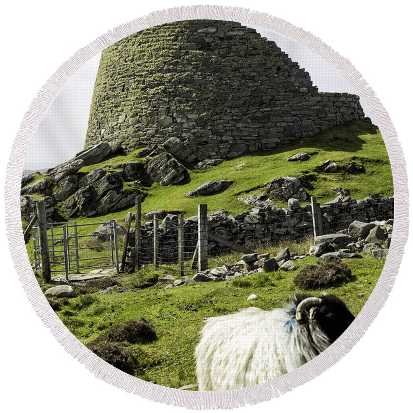 Carolway Round Beach Towel featuring the photograph Carloway Broch by Fran Gallogly