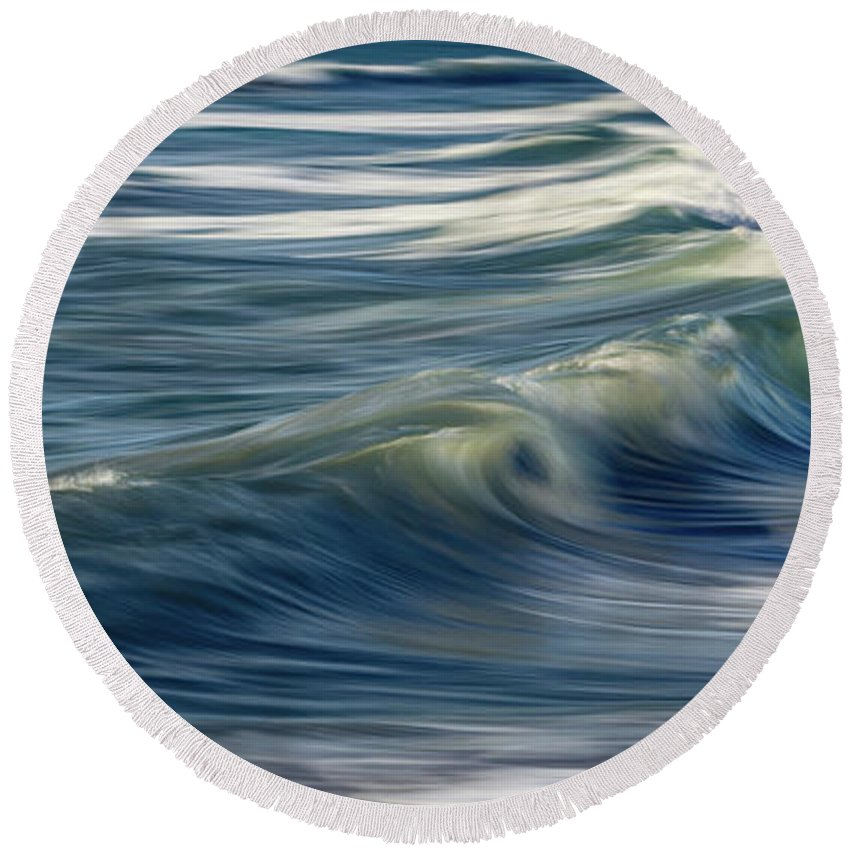 21x9 Round Beach Towel featuring the photograph Ocean Wave Abstract by Steve Skinner