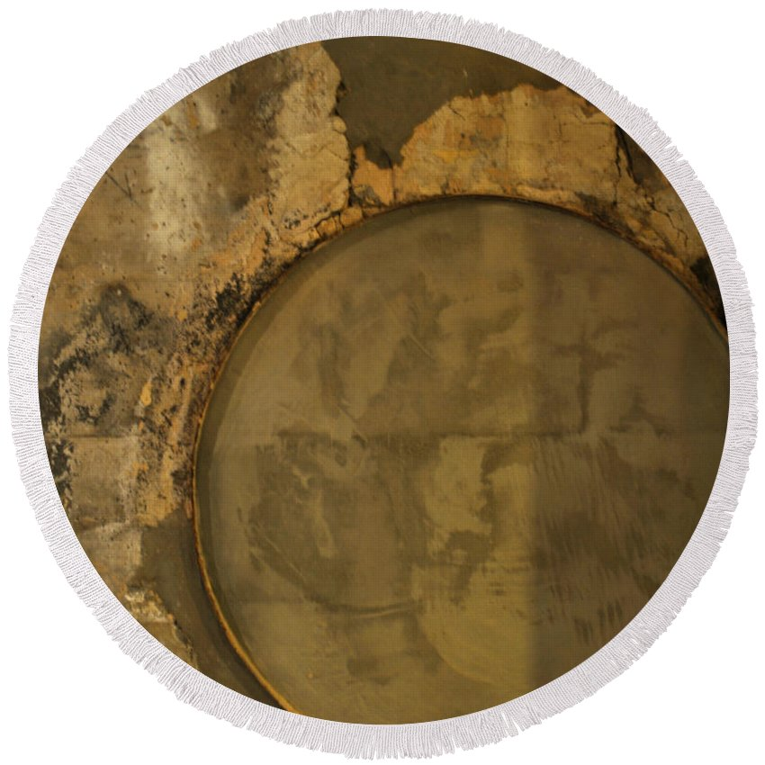 Concrete Round Beach Towel featuring the photograph Carlton 3 - Abstract Concrete by Tim Nyberg