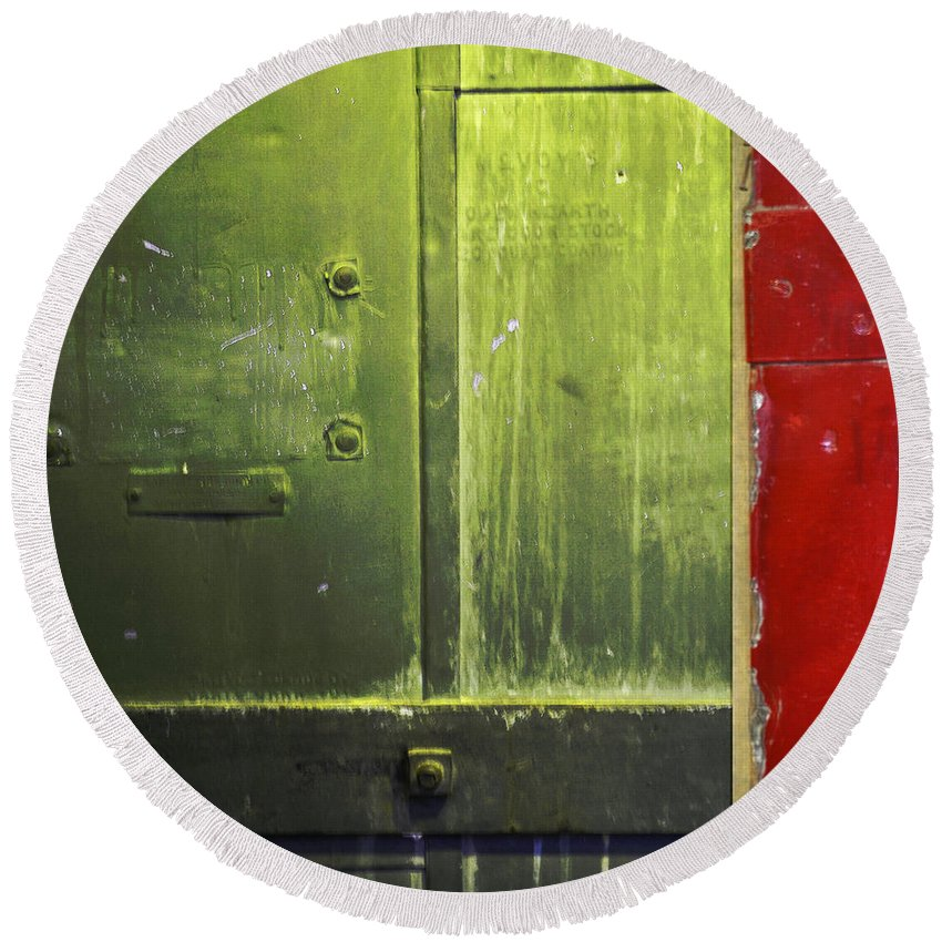 Metal Round Beach Towel featuring the photograph Carlton 6 - Firedoor Abstract by Tim Nyberg