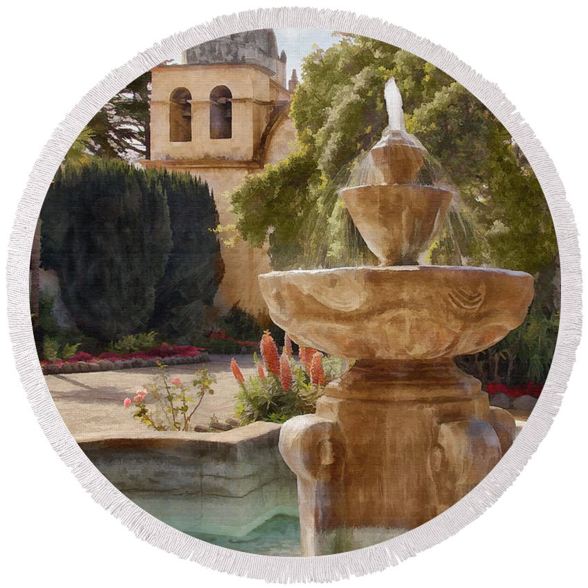 Mission Round Beach Towel featuring the digital art Carmel Fountain Courtyard by Sharon Foster