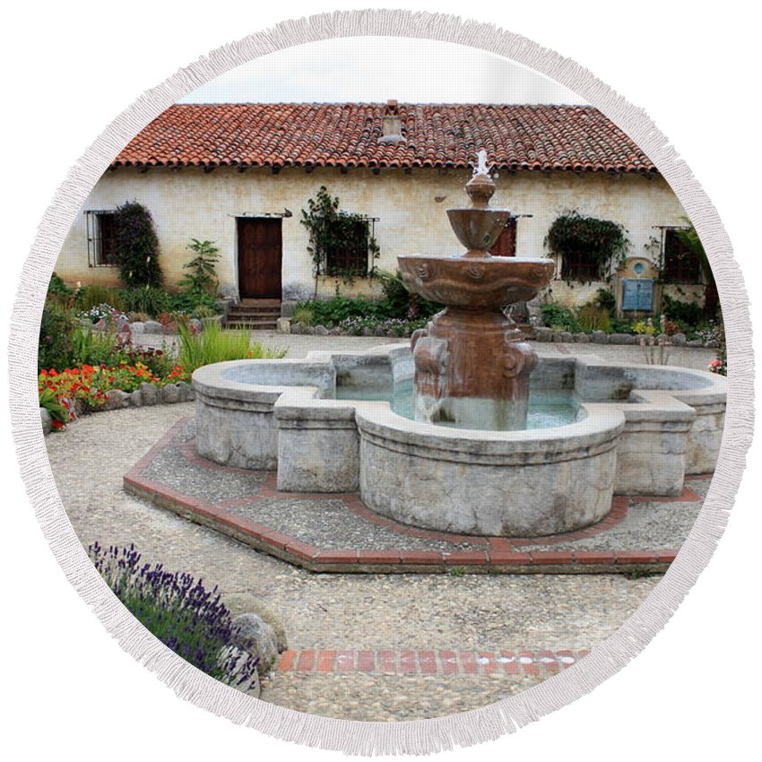 Catholic Round Beach Towel featuring the photograph Carmel Mission Courtyard by Carol Groenen