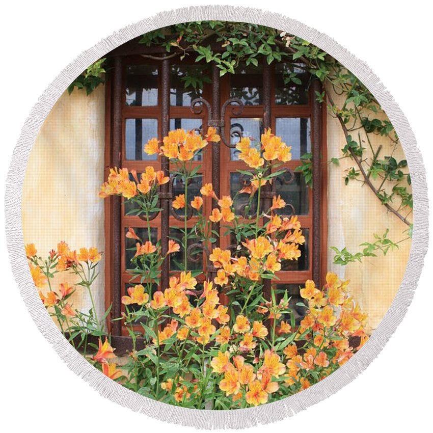 Alstroemeria Round Beach Towel featuring the photograph Carmel Mission Window by Carol Groenen