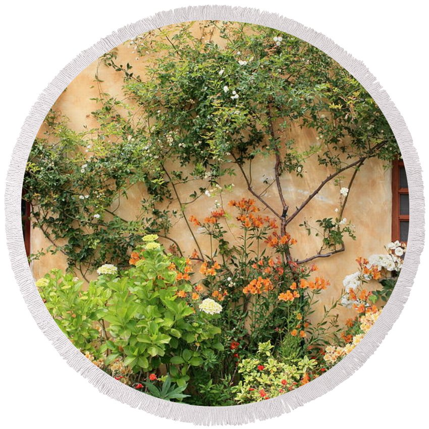 Carmel Mission Round Beach Towel featuring the photograph Carmel Mission Windows by Carol Groenen