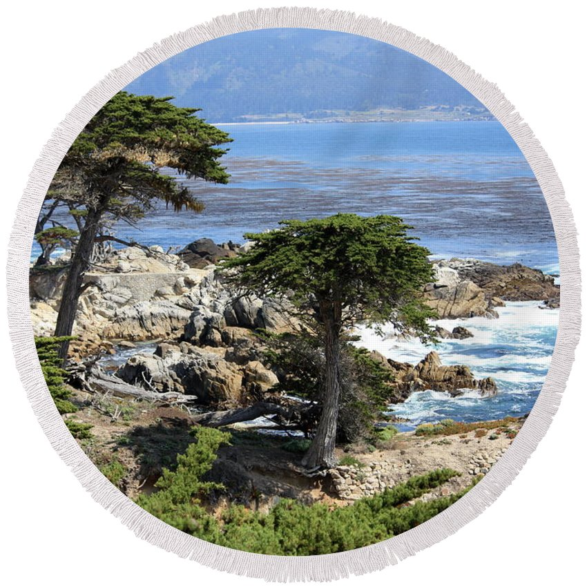 California Round Beach Towel featuring the photograph Carmel Seaside With Cypresses by Carol Groenen