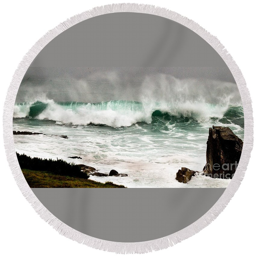 Seascapes Round Beach Towel featuring the photograph Carmel Wave Rock by Norman Andrus