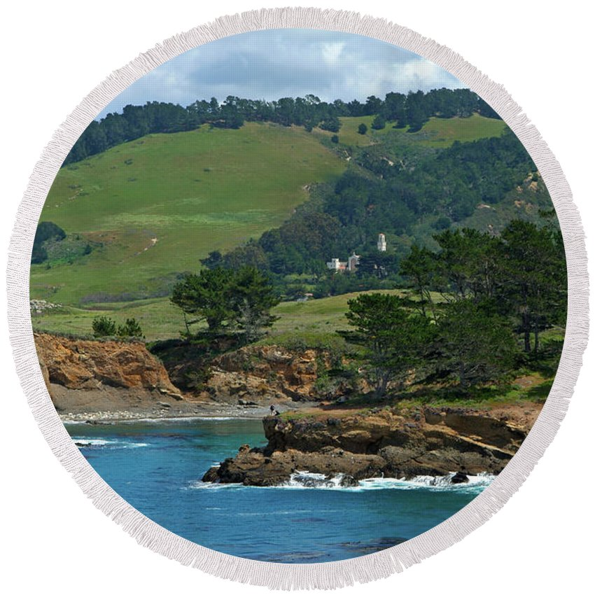Landscape Round Beach Towel featuring the photograph Carmelite Monastery Near Point Lobos by Charlene Mitchell