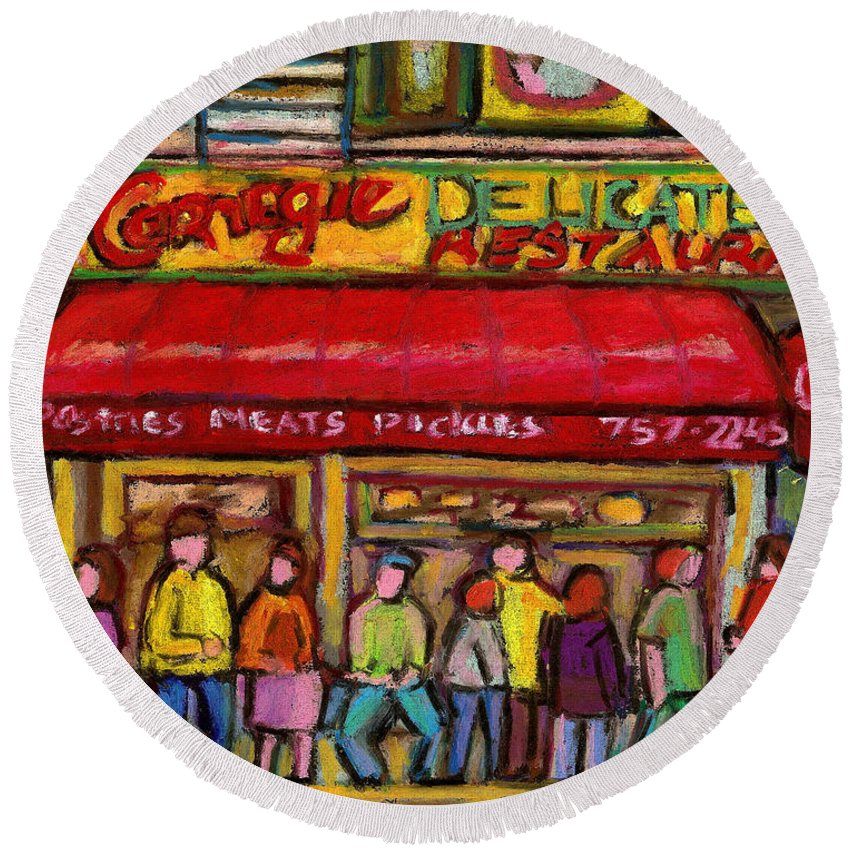Carnegie's Deli Round Beach Towel featuring the painting Carnegie's Deli by Carole Spandau