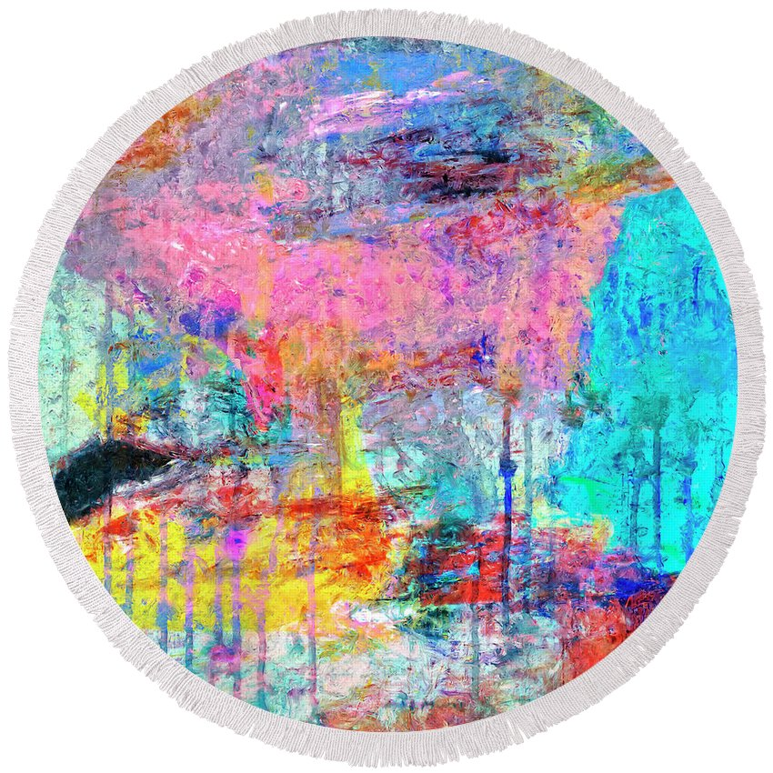 Abstract Round Beach Towel featuring the painting Carnival by Dominic Piperata
