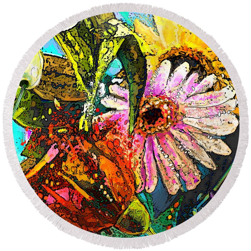 Flowers Painting Round Beach Towel featuring the painting Carnivale Flori by Miki De Goodaboom
