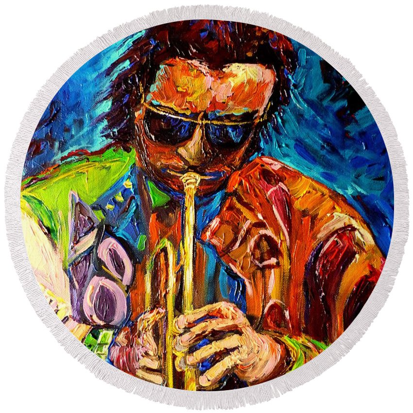 Carole Spandau Hot Jazz Portraits Round Beach Towel featuring the painting Carole Spandau Paints Miles Davis And Other Hot Jazz Portraits For You by Carole Spandau