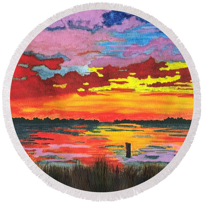 Original Painting Round Beach Towel featuring the painting Carolina Sunset by Patricia Griffin Brett