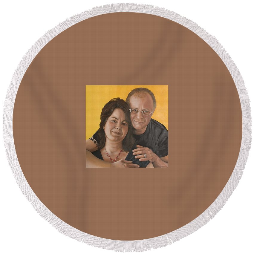 Portrait Round Beach Towel featuring the painting Caroline and Rob by Rob De Vries