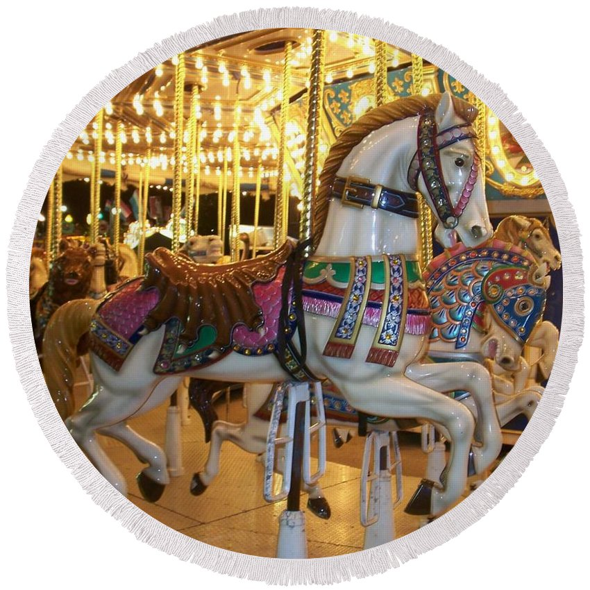 Carosel Horse Round Beach Towel featuring the photograph Carosel Horse by Anita Burgermeister