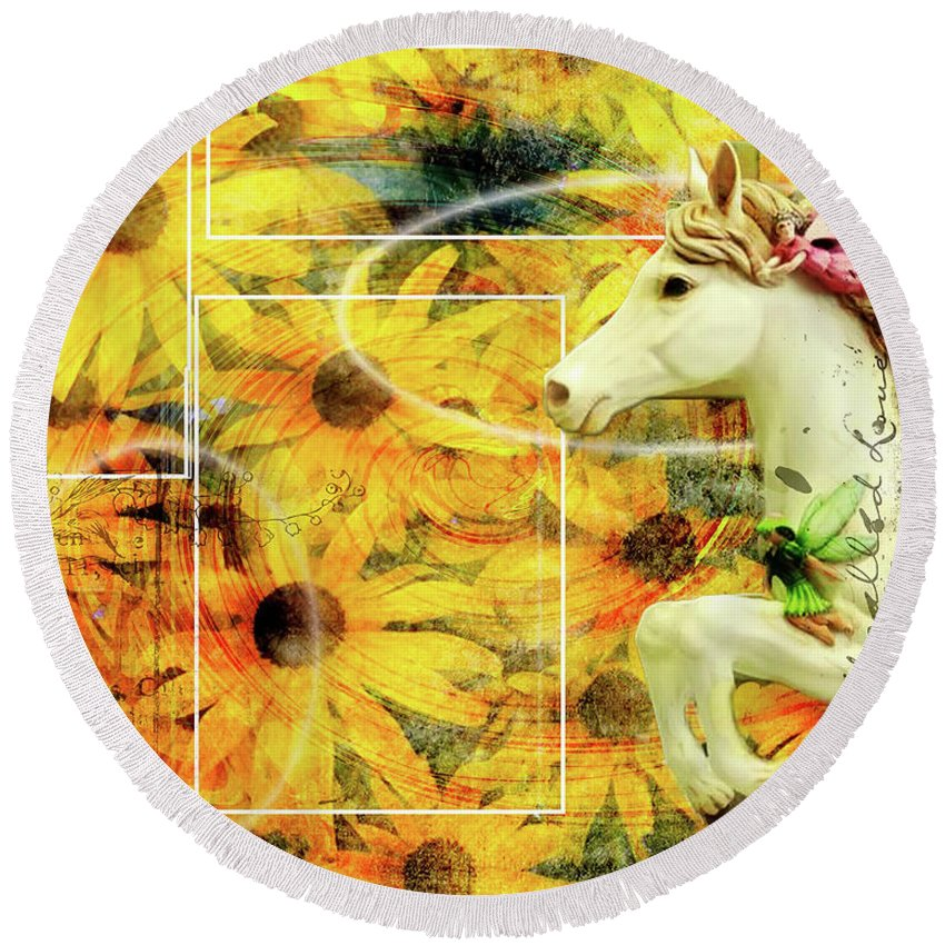Flowers Round Beach Towel featuring the photograph Carousel Escape by Allyson Schwartz