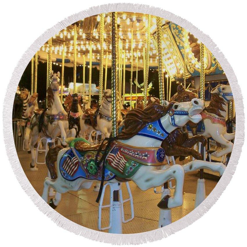 Carousel Horse Round Beach Towel featuring the photograph Carousel Horse 3 by Anita Burgermeister