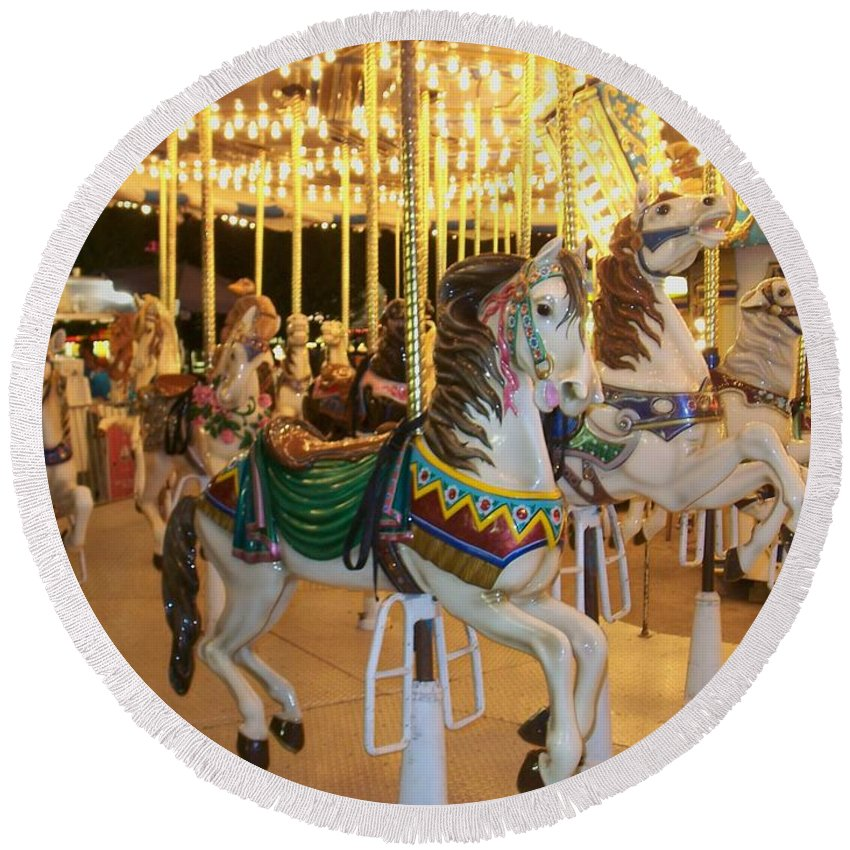 Carousel Horse Round Beach Towel featuring the photograph Carousel Horse 4 by Anita Burgermeister