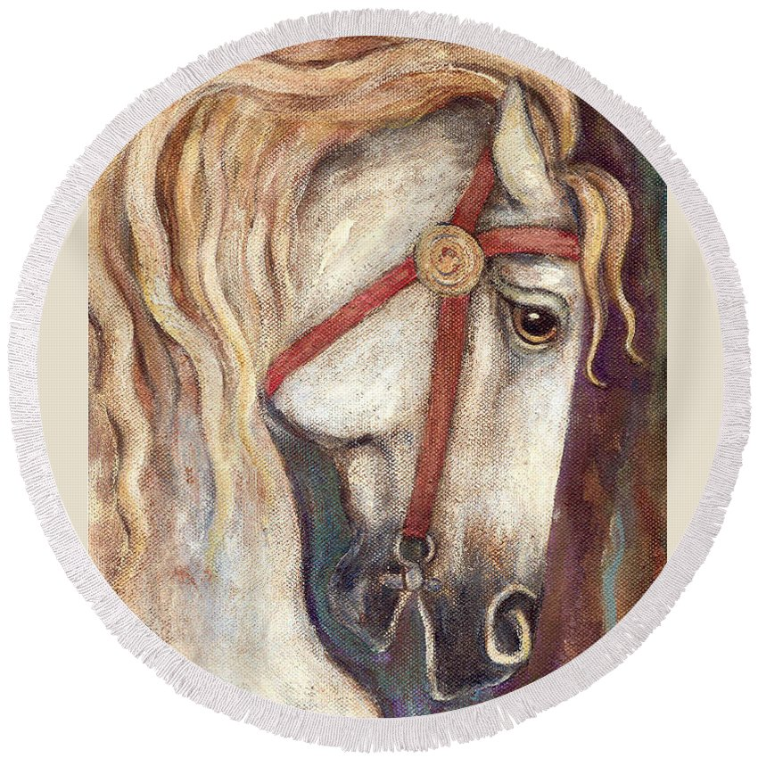 Horse Painting Round Beach Towel featuring the painting Carousel Horse Painting by Frances Gillotti
