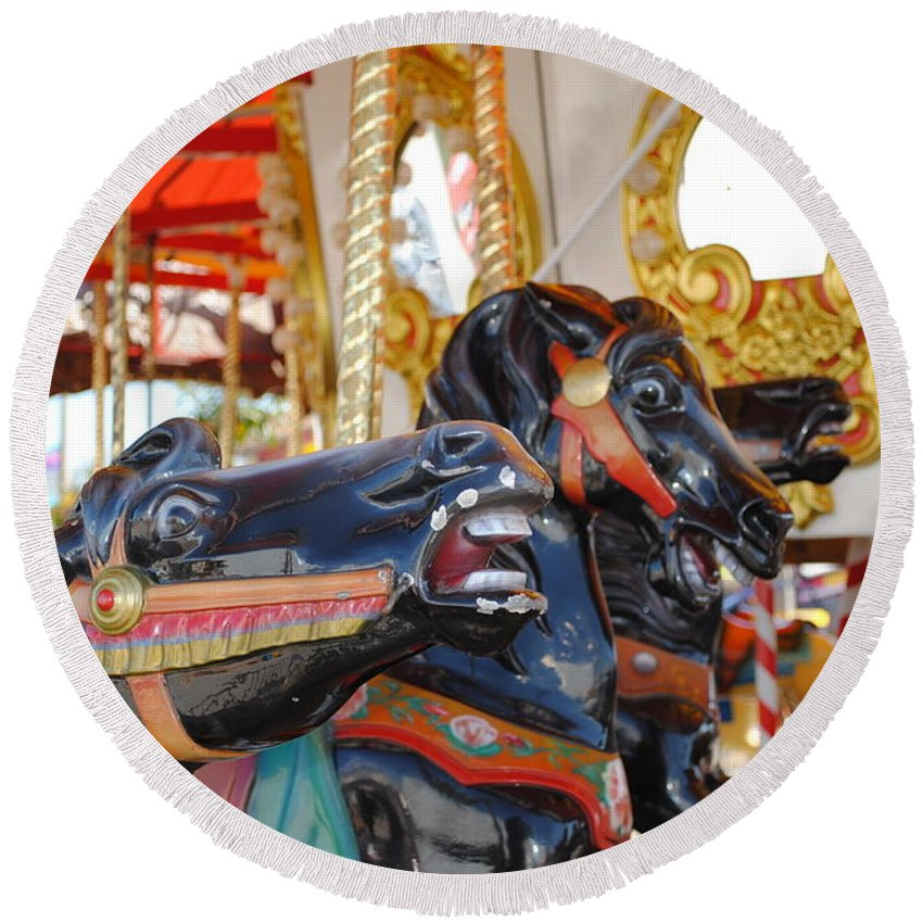 Horse Round Beach Towel featuring the photograph Carousel by Jost Houk