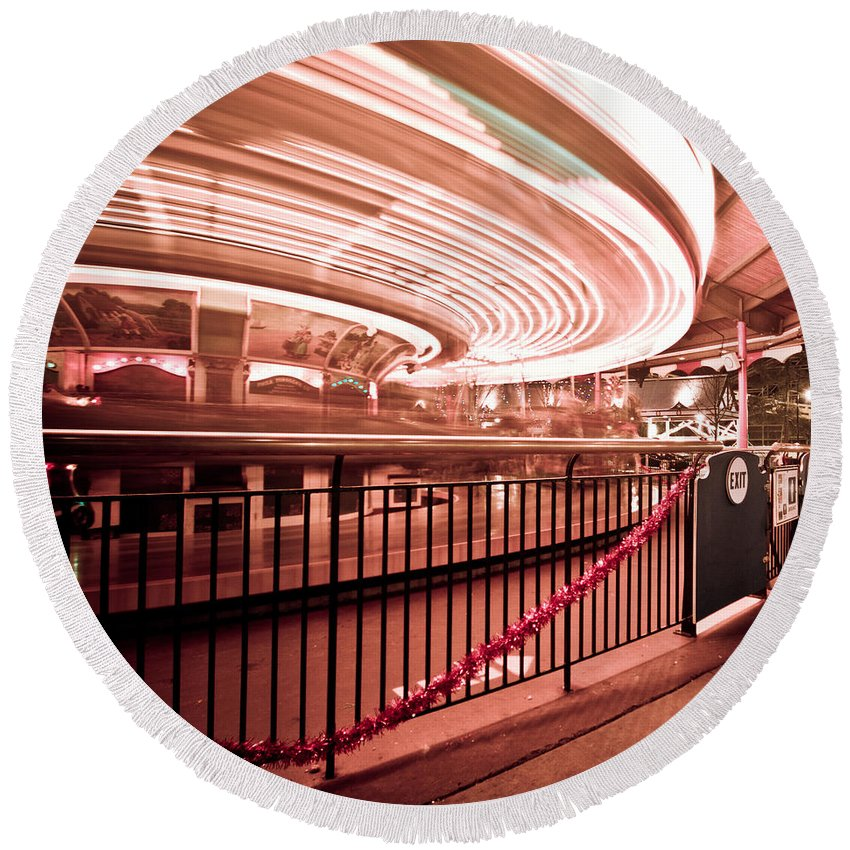Long Exposure Round Beach Towel featuring the photograph Carousel Lights #2 by Robert J Caputo