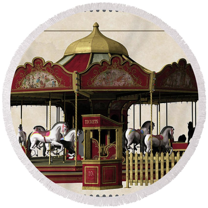 Carousel Rides Round Beach Towel featuring the digital art Carousel Rides Ten Cents by L Wright