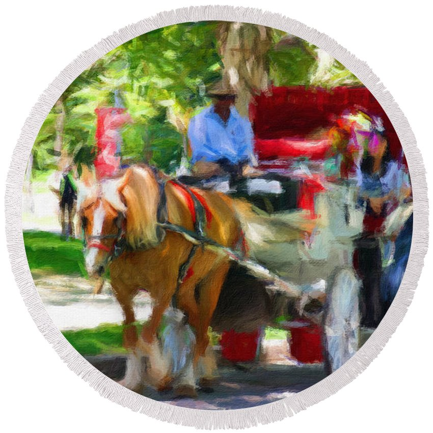 Carriage Horse Round Beach Towel featuring the photograph Carriage Colors by Alice Gipson