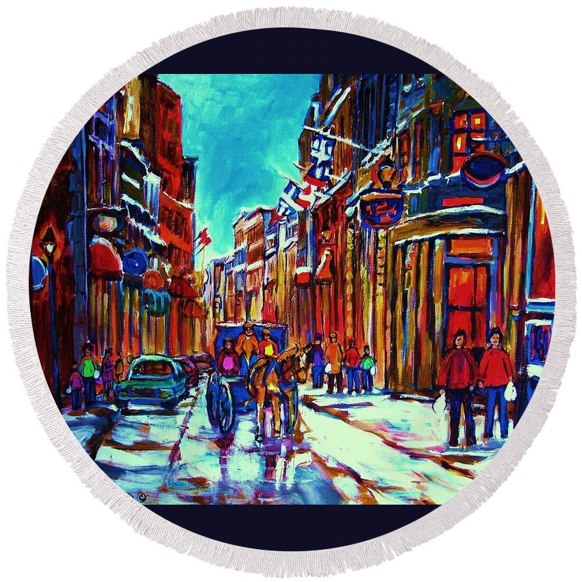 Old Montreal Round Beach Towel featuring the painting Carriage Ride Through The Old City by Carole Spandau