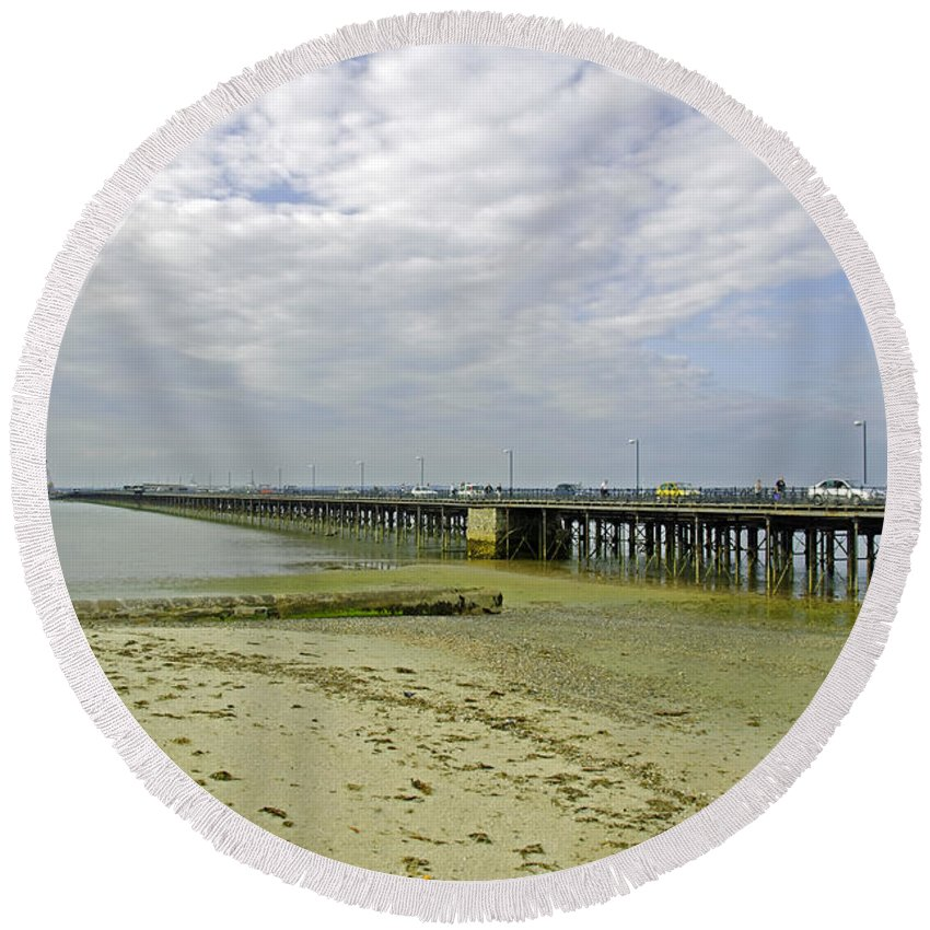 Ryde Round Beach Towel featuring the photograph Cars Travelling On Ryde Pier by Rod Johnson