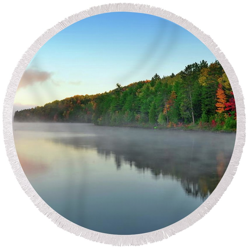 Barry's Bay Round Beach Towel featuring the photograph Carson Lake This Fall by Andrzej Pradzynski