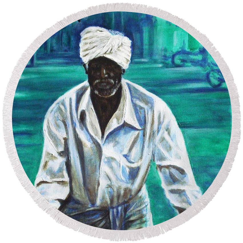 Indian Round Beach Towel featuring the painting Cart Vendor by Usha Shantharam
