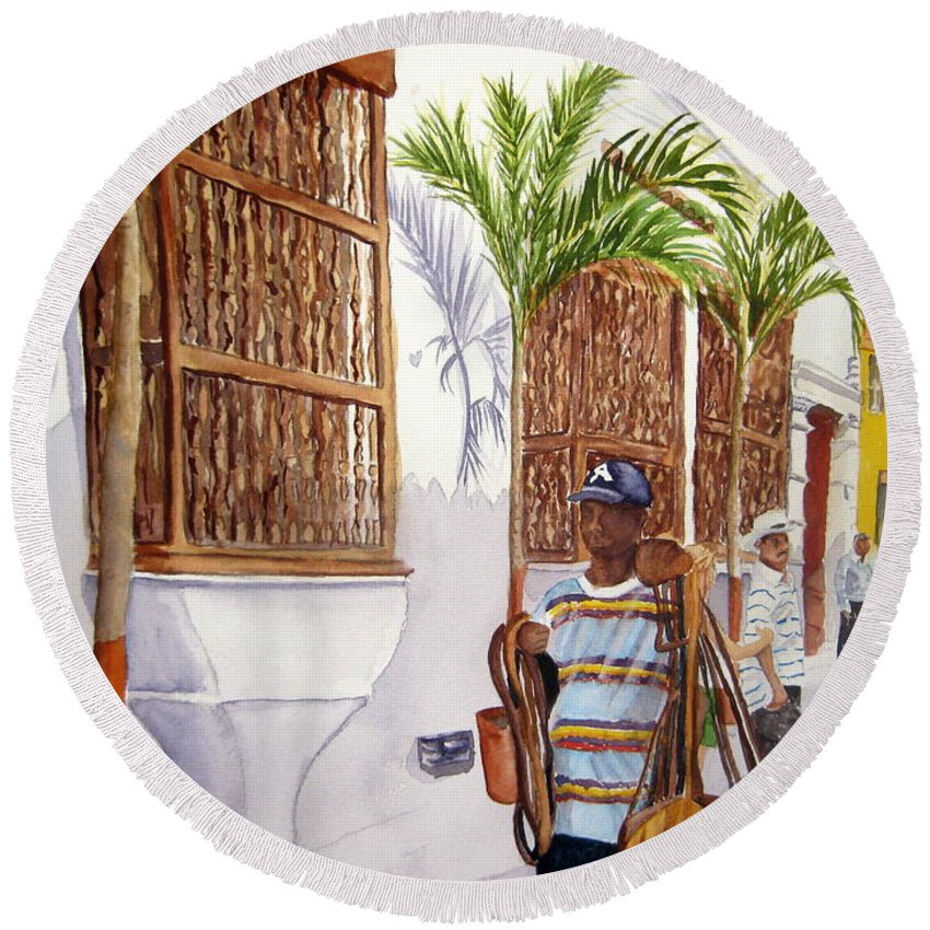 Landscape Round Beach Towel featuring the painting Cartagena Peddler I by Julia RIETZ