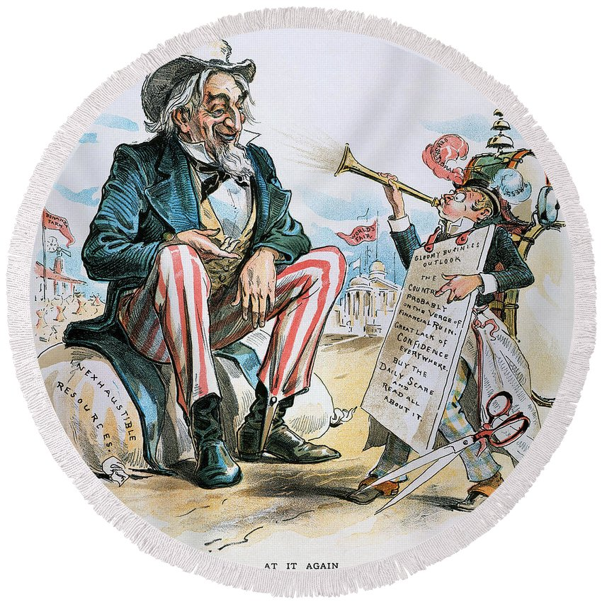 1893 Round Beach Towel featuring the photograph Cartoon: Uncle Sam, 1893 by Granger