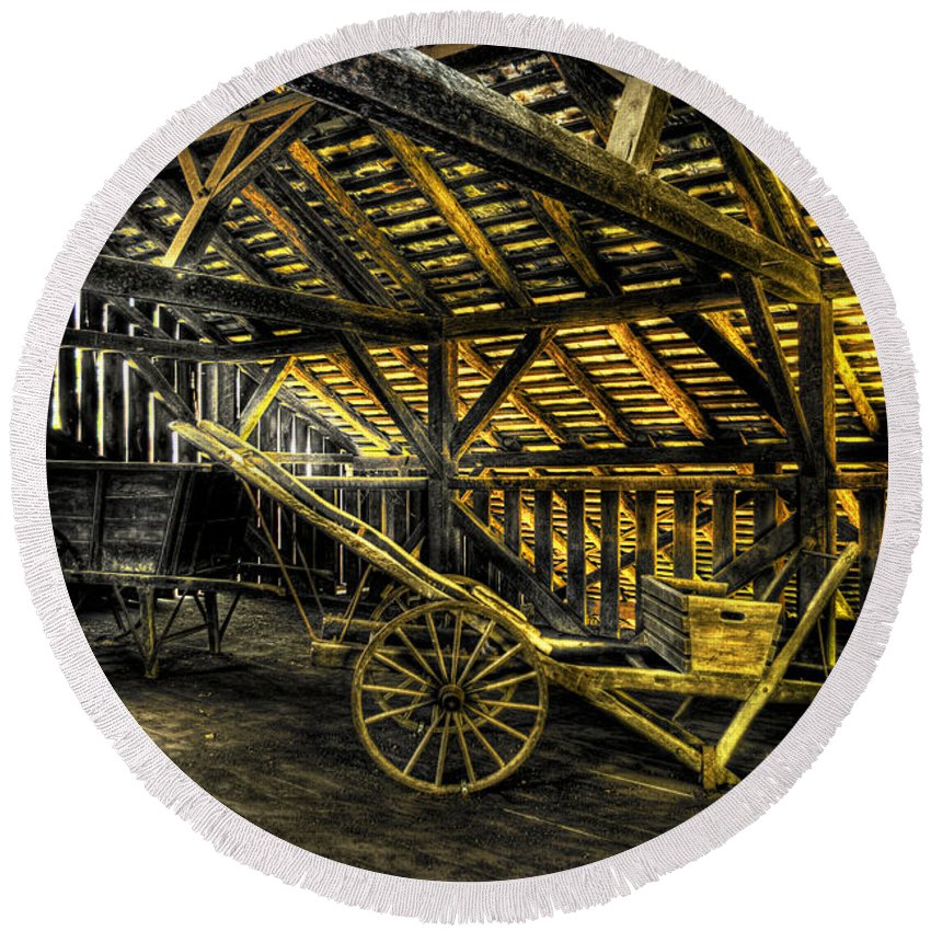 Farm Round Beach Towel featuring the photograph Carts Before The Horse by Scott Wyatt