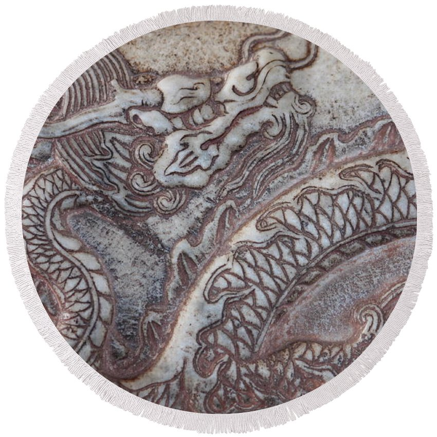 Chinese Dragon Round Beach Towel featuring the photograph Carved Dragon by Carol Groenen