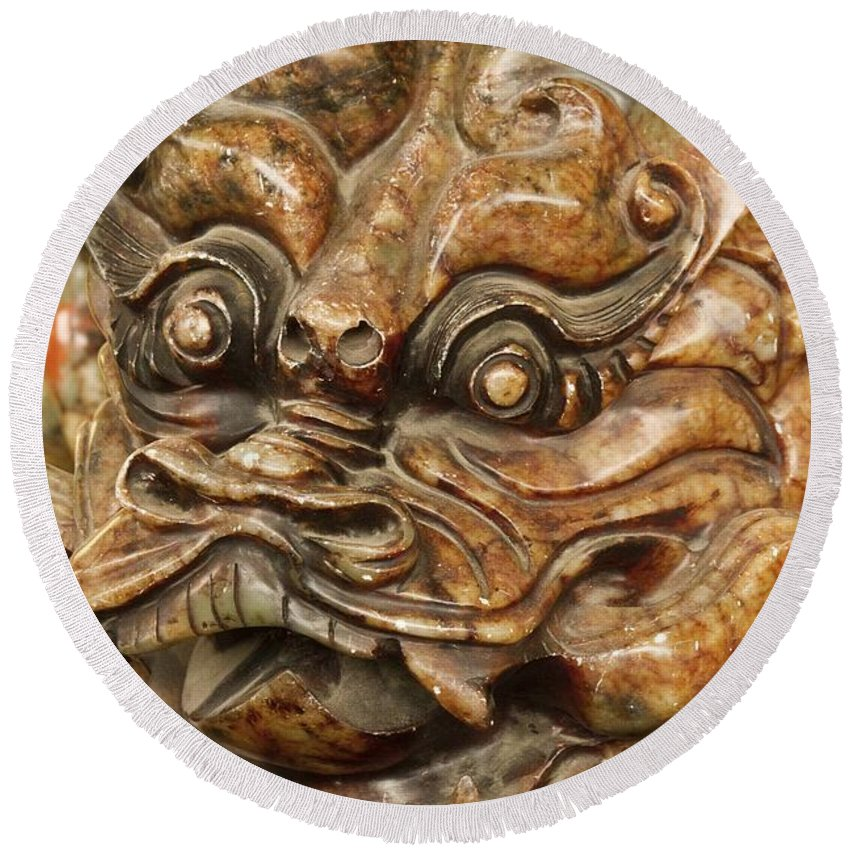 Jade Round Beach Towel featuring the photograph Carvings In Jade - 3 - A Dragon's Face by Hany J