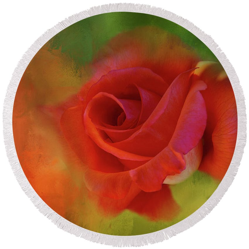 Rose Round Beach Towel featuring the digital art Cary Grant Rose by Terry Davis
