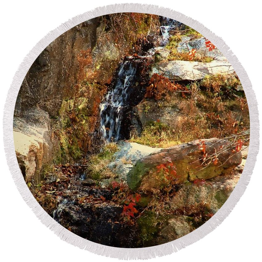 Waterfall Round Beach Towel featuring the painting Cascade Glorious by RC DeWinter