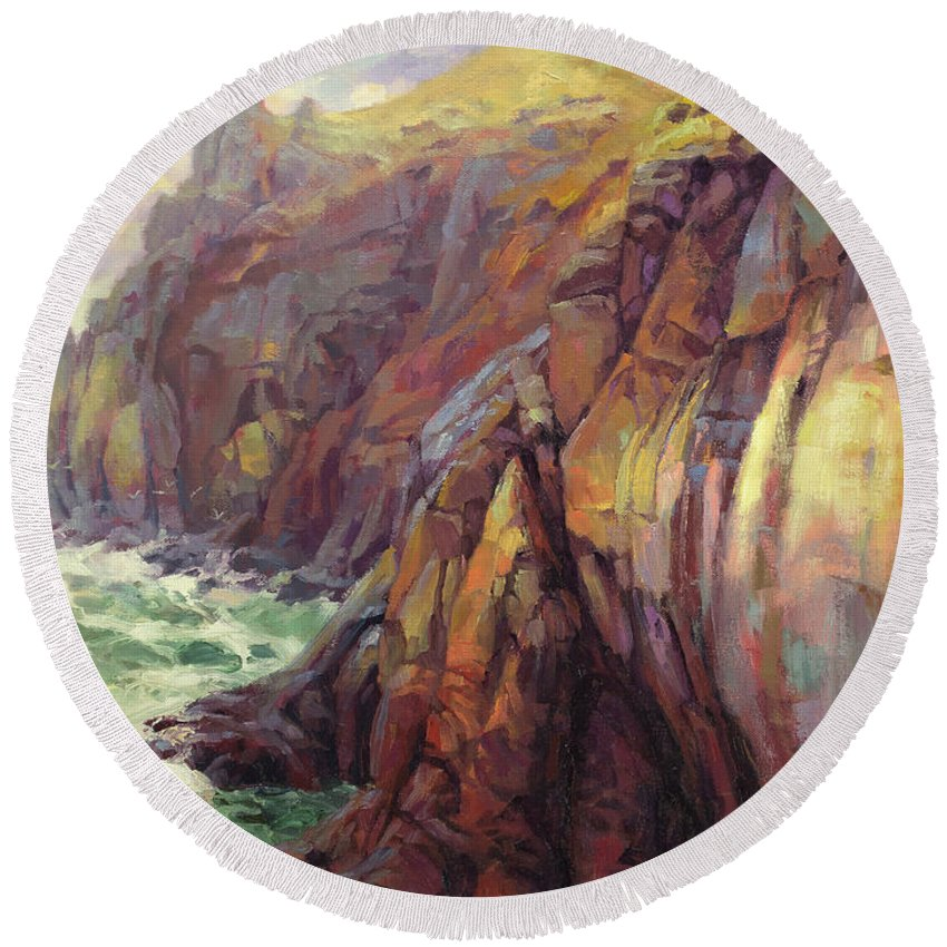 Sea Round Beach Towel featuring the painting Cascade Head by Steve Henderson